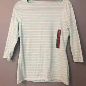 Quarter length sleeved mint striped t shirt - M